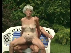 Hairy bush granny fucked in the grass