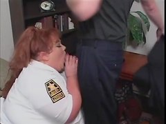 BBW cop sucks and gives titjob to make him cum