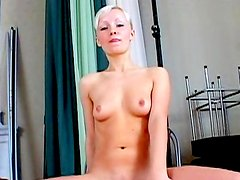 Hot short-haired blonde demonstrates her nice boobies