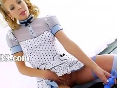 Blonde princess deep vibrating her anus