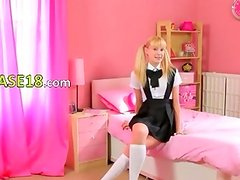 Blonde with pigtails posing for a cam