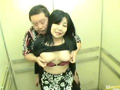 Elevator Sex With Horny Japanese Milf!