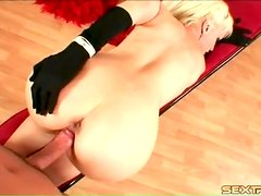 POV doggystyle with a gorgeous blonde in gloves
