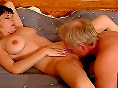 Sensual babe Danley Hayes is sucking tasty dick of old man