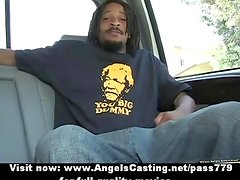 Amazing blonde babe flashes tits and does blowjob for afro guy in car