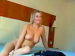 Sexy big boobs blonde bent over