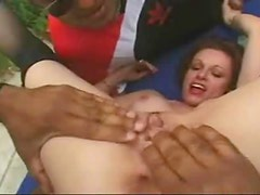 Redhead milf outdoors in stockings group sex