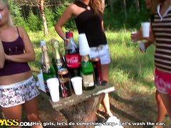 Crazy Picnic & Carwash Outdoors with Hot Chicks