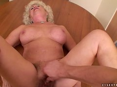 Effie gets her old pussy fucked every which way in the kitchen