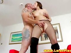 British mature in stockings gives head