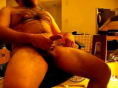 Mature bear solo JO big thick cock