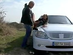 Cora outside oral-job and fucked on car