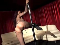 Tera Patrick the girl in fishnet dress performs pole dance