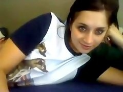 Cute legal age teenager shows pink and valuable breasts on web camera