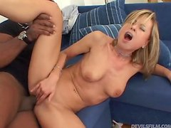 Sexy blondie loves swallowing cums of her black man