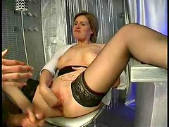 Sizzling and horny mature lady gets fisted hard