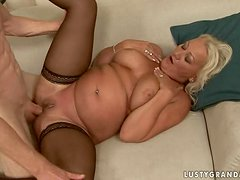 Blonde granny Cecily gets her holes toyed and pounded hard