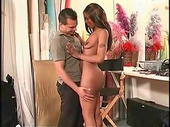 Dressing room fuck with a shaved black pussy