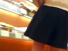 Sexy Japanese Girl Quick upskirt in bakery store