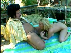 Fat Ron Jeremy fucks a milf outdoors