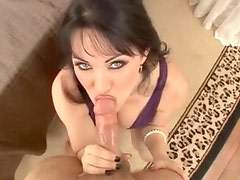 Milf in a tight purple dress sucks your cock
