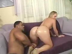 Muscular black man and slender teen foreplay