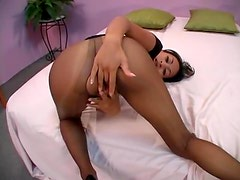 Latina in sexy black pantyhose pounded