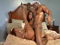 Black girls with great tits fucked hard in foursome