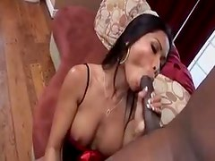 Asian with perfect tits in lingerie sucks big cock