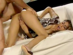 Petite chick in a fun dress fucked in her cunt