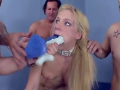 Her cunt stretches to take two dicks at once