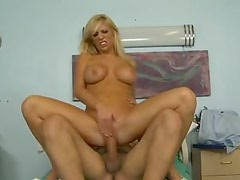 Blonde in a hospital bed sits on dick
