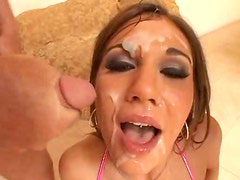 BJ and bukkake fun with cute brunette