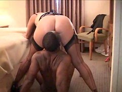White wife cheats on hubby with black dick in hotel room
