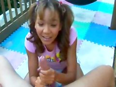Pigtailed angel makes a sloppy deepthroat