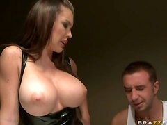 Enchanted by her big tits and fucking the latex slut