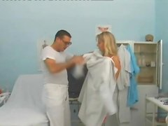 Dress and stockings on a blonde getting fucked