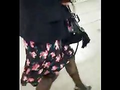Wife walks with ripped pantyhose