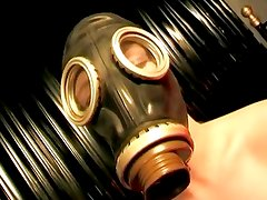 Babe In A Gas Mask Uses A Vibrat...