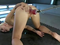 Dylan Ryan has her vagina stretched by fat scarlet rubber toy