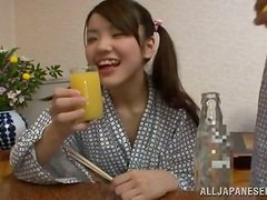 Japanese Teen Gets Her Shaved Pussy Fucked for Breakfast