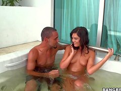 Tanned slender teen babe Madison Parker with natural boobs and