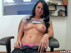 Experienced looking black haired amateur Riley Knight with french manicure