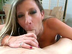 Busty hottie Sara Jay pleases hunk with amazing blowjob and nasty tits job sessions