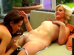 Mature lesbian Jennyfer is licking young Mira Shines fresh pussy excitedly