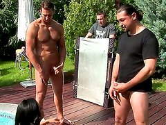Backstage with gorgeous temptress Lioness having fun with two boys near the swimming pool