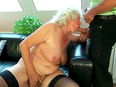 Crazy granny named Norma shows her hairy pussy and gets a big cock in the holes