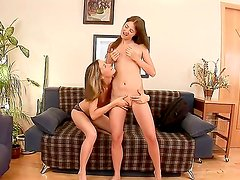 Enjoy wild lesbian performance with two young school girls Ashley and Faye