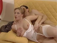 German girl in curvy white lingerie has a DP