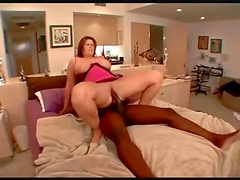 Fat pornstar in lingerie has sex with black cock